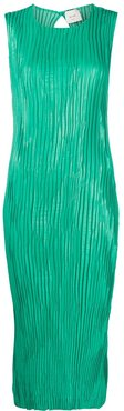 pleated midi dress - Green