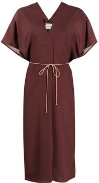 tie-waist midi dress - Brown