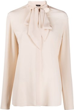 pussy-bow blouse - NEUTRALS