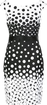 fitted dotted midi dress - Black