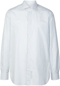 striped-print buttoned shirt - White