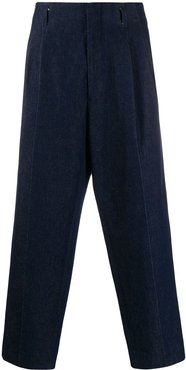 denim pleated trousers - Blue