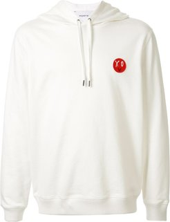 long sleeve logo patch hoodie - White