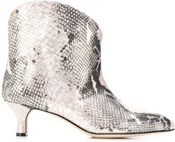 snakeskin-effect ankle boots - PINK