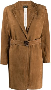 leather open front jacket - Brown