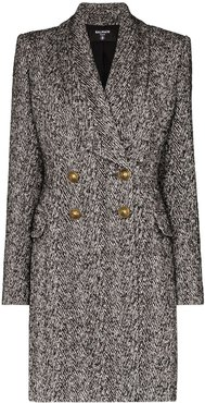 double-breasted mid-length coat - Grey