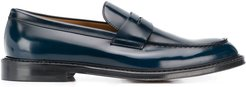 polish-effect penny loafers - Blue