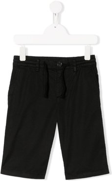 drawstring waist logo chinos - Black