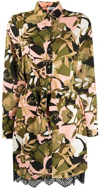 floral camouflage belted shirt dress - Green