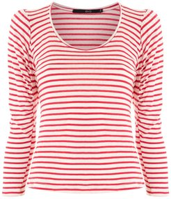 stripe print top - Red