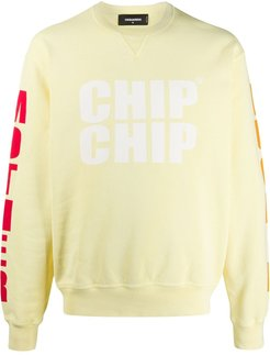 slogan printed sleeve detail sweatshirt - Yellow