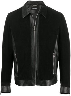 panelled suede zipped jacket - Black