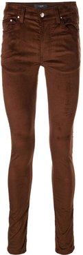 skinny fit velour stack trousers - Brown