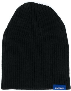 ribbed knit logo embroidered beanie hat - Black