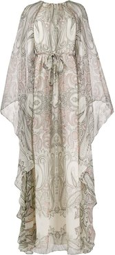 paisley print draped gown - Neutrals