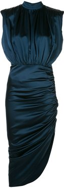 draped asymmetric midi dress - Blue