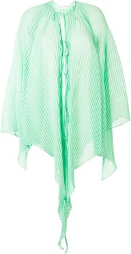 lightweight pleated draped top - Green