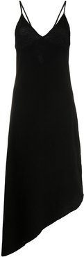 asymmetric hem midi dress - Black