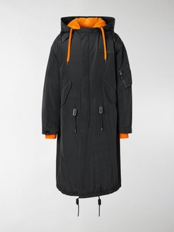 layered hooded parka