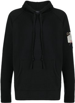 embroidered patch hoodie - Black