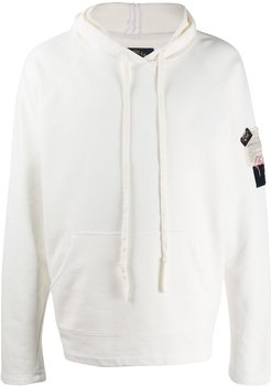 embroidered patch hoodie - White