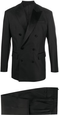 double breasted peak-lapel suit - Black