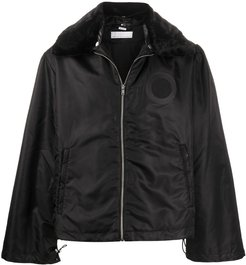 wide collar padded jacket - Black