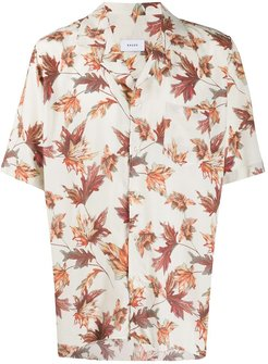leaves print bowling shirt - White