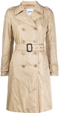 padded trench coat - Neutrals