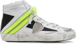 Bike patchwork high-top sneakers - White