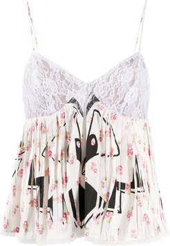 contrast print floral top - White
