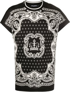 bandana and crown print T-shirt - Black