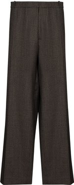 check-pattern wide-leg trousers - Brown
