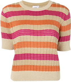 striped knitted top - ORANGE