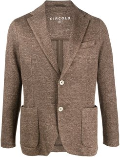 textured pocket square blazer - Brown