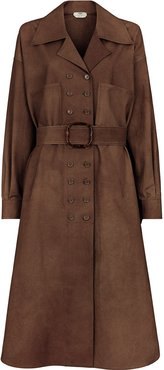 double-breasted belted trench coat - Brown