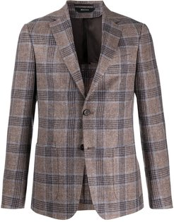 fitted checked pattern blazer - Brown
