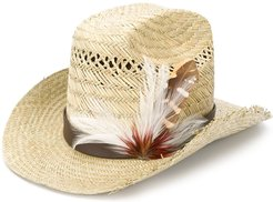 feather embellished cowboy hat - Brown