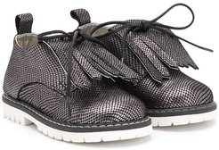 embossed fringed shoes - SILVER