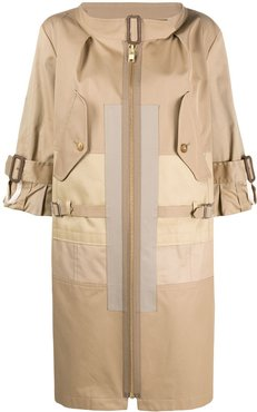 front zipped trench coat - Neutrals