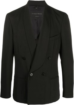 double breasted fitted blazer - Black