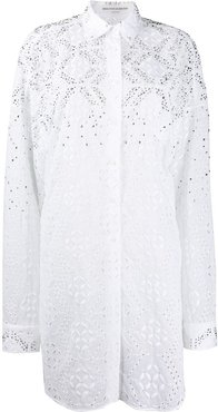 embroidered style studded shirt dress - White