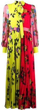 floral-print pleated dress - Yellow
