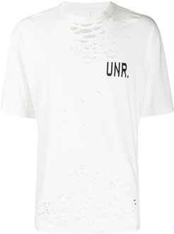 distressed effect T-shirt - White