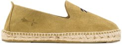 palm tree embroidered espadrilless - Green