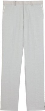 crystal embroidered linen trousers - Grey
