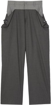 press stud detail trousers - Grey