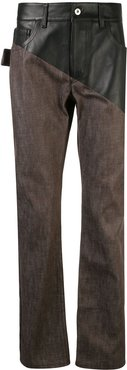panelled straight-leg jeans - Brown