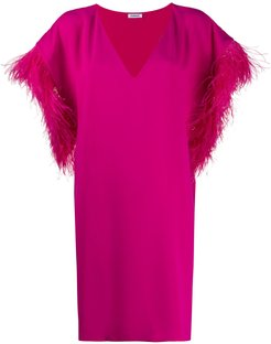 Panters ostrich feather shift dress - PINK