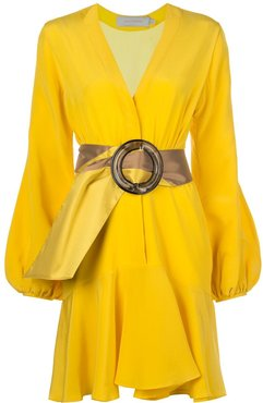 belted wrap dress - Yellow